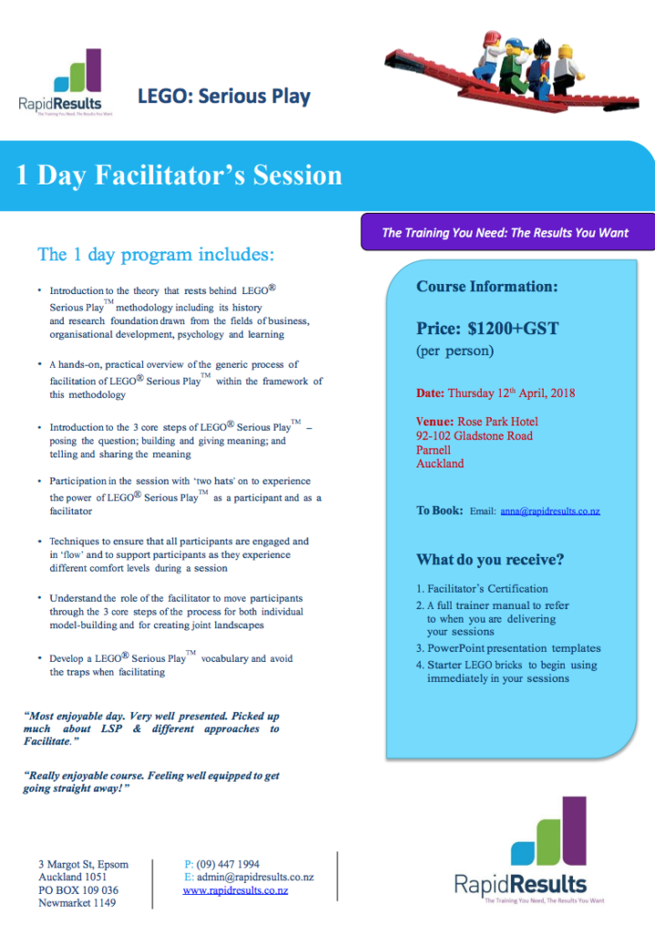 Lego Serious Play - One Day Facilitators Workshop - Sales And ...